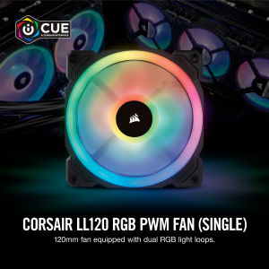 CORSAIR CASING FAN LL120 RGB 120mm Dual Light Loop RGB LED PWM Fan-Single Pack # CO-9050071-WW