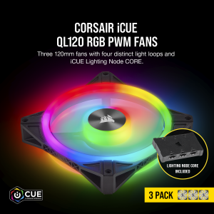 CORSAIR CASING FAN QL120 RGB 120mm PWM Triple Fan with Lighting Node CORE # CO-9050098-WW