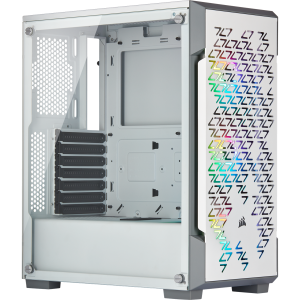 Corsair iCUE 220T RGB Airflow Tempered Glass Mid-Tower Smart Case — White