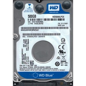 "WD 500GB INTERNAL NOTEBOOK HARD DRIVE (BLUE) 2.5"" SATA"