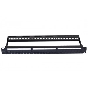 VIVANCO CAT 6 24 PORT PATCH PANEL, UNSHIELDED, DUST-PROOF SHUTTER, LOADED